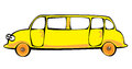 Cartoon  yellow limousine isolated on white Stock Photography