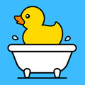Cartoon yellow rubber duck in a bathtub Royalty Free Stock Photo