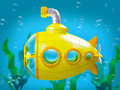 Cartoon yellow submarine under water Royalty Free Stock Photo