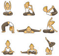 Cartoon yoga girl icon Stock Photo