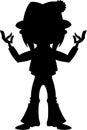 Cartoon Yoga Hippie Silhouette
