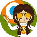 Cartoon Yoga Hippie