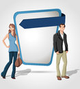 Cartoon young couple front blue template screen Stock Images