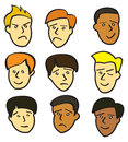 Cartoon Young Male Faces Stock Photos