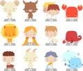 Cartoon zodiac manga symbols