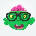 Cartoon zombie face wearing eyeglasses cartoon. Zombie nerd. Halloween vector illustration.
