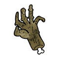 Cartoon zombie hand retro with texture isolated on white Stock Photography