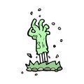 Cartoon zombie hand rising from ground drawn illustration in retro style vector available Royalty Free Stock Photography