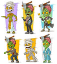 Cartoon zombie and mummy monster character vector set
