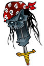 Cartoon zombie pirate Stock Images
