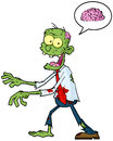 Cartoon Zombie And Speech Bubble Stock Photos