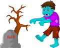 Cartoon zombie walking in cemetery