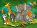 Cartoon zoo amusement park illustration for the children happy and colorful Stock Images