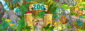 Cartoon zoo amusement park illustration for the children happy and colorful Royalty Free Stock Photo