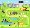 stock image of  Cartoon zoo with visitors and safari animals. Happy families with kids in zoological park vector illustration
