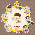 Cartoonc family card Stock Image