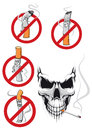 Cartooned smoking kills and no smoking concepts in cartoon style with cigarettes in prohibition signs spooky skull with cigarette Stock Photo