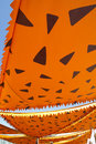 Cartoonish orange awning sunshade decoration Stock Photo
