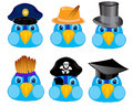 Cartoons of the bird in headdresses cartoon head sparrow attire on white background Royalty Free Stock Images