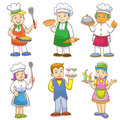 Cartoons of kids chefs and set of cooking eps file no gradients no effects no mesh no transparencies all in separate group for Stock Photos