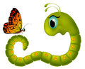 Cartoony goggle eyed caterpillar looking at a butt butterfly on white background Stock Photo