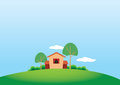 Cartoony stule country house and trees vector illustration of the side view of a cute in a quiet nature setting copy space Stock Photos