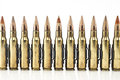 Cartridge mm caliber with link machine gun bullet Royalty Free Stock Photo