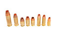 Cartridge types different of pistol cartridges for hunting and target shooting Stock Image