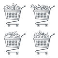 Carts with sausages, fruit, vegetables and bakery Royalty Free Stock Photo