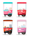 Carts set retail, popcorn, cotton candy, hot dog, ice cream kiosk on wheel Royalty Free Stock Photo