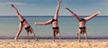 Cartwheel composite of girl beautiful young woman doing on the beach with a calm sea in the background three images Royalty Free Stock Photos