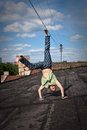 Cartwheel on the roof Royalty Free Stock Images
