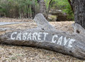Carved entrance Cabaret Cave sign in Yanchep National Park Royalty Free Stock Photo