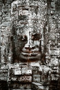 Carved face at the Bayon Temple Stock Photos