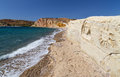 Carved figures in kalamitsi beach kimolos island cyclades greece by an unknown artist at the south coast of Royalty Free Stock Images