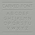 Carved font design set of letters illustration Stock Photo