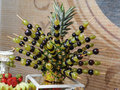 Carved fruits arrangement fresh various decoration assortment of exotic fresh Stock Photography