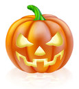 Carved halloween pumpkin a drawing of a cartoon with classic scary face into it Royalty Free Stock Photos