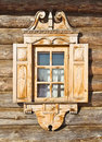Carved jamb traditional russian wooden architecture a window Royalty Free Stock Image