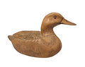 Carved plain wooden duck isolated. Stock Photos