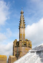 Carved spire on tower of Ludlow parish church Stock Photo