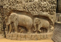 Carved in stone elephants and indians mythological creatures Royalty Free Stock Image