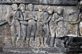 Carved stoneat the Borobudur temple Royalty Free Stock Images