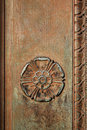 Carved tudor rose on an ornamental doorway Stock Photo
