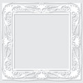 Carved vintage frame made of paper for picture or photo with shadow on white background Stock Images