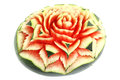 Carved watermelon rose flower Royalty Free Stock Photo