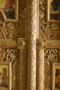 Carved wood details in church Royalty Free Stock Image