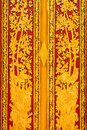 Carved wood door of buddhist church bangkok Royalty Free Stock Photos