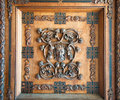 Carved wood panels palermo wall art of crest of kings on the doors of the norman palace castle in sicily italy from the th century Royalty Free Stock Photos