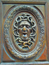 Carved Wooden Door Gargoyle Royalty Free Stock Photo